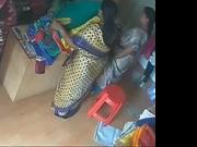 Satin silk saree aunty in shop