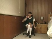 ERIKA SCHOOL GIRL SHEMALE ENJOYS HER DILDO