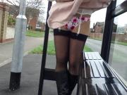 windy upskirt stockings pink floral thong