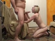 Blonde slut eats big cock