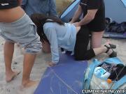 Dogging slutwife gangbanged on public beach