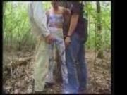 Monika fucks and sucks two guys in the woods