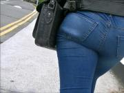 Candid black bubble butt in tight jeans