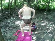 me getting dressed in the woods