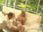 British slut Ashley Long has anal sex in white stockings