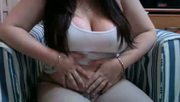 chubby feeder rubs her belly and tits