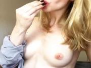 Topless babe licks icecube