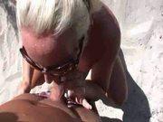 Sexy german blonde fuck stranger in th beach