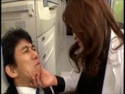 Japanese MILF boss Sumire strapon fucks worker censored