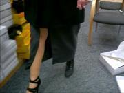 Upskirt in shoestore, stockings and panties