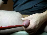 squirting cum around a sound in my cock
