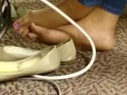 Candid Ebony Barefeet in Library 4
