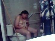Hidden cam in bathroom caught my nasty sister masturbating