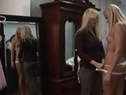 Two blonde lesbians kissing and teasing