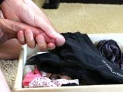 Explosive cumshot on black panties