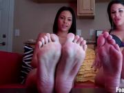 Worship our feet and suck our toes like a good boy
