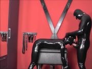 Rubber Doll bound on bondage horse and used part 1