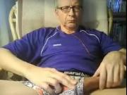 Daddy wanking his cock