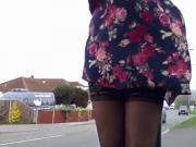purple dress windy day stockings drivers flashed