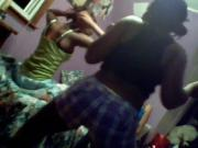 Ebony Teens Dancings On The Bed