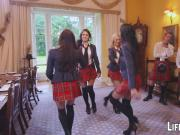 Kinky schoolgirls wearing Scottish skirt and fucking for bet