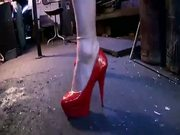 British slut Keira gets a fucked in red high heels