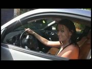 Brunette Ashley caught stealing a hot car