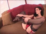 Hottie Veronica Stone in red lingerie and nylons playing with herself