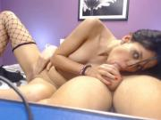 Young Couple performing a tease blow job