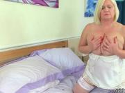 British grandma Lacey Starr fucks her pussy with a dildo