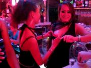 Two bar girls do a Titty Tequila