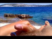 Wife giving handjob on beach PublicFlashing.me