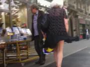 Windy upskirt 3 - Granny purple pantie