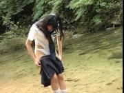MIHANA Aira school uniform in the river