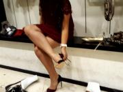 shoe shopping with my friend, her legs and upskirt