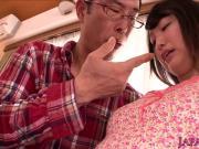 Japanese petite giving handjob then peed on