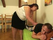 Her chubby mother pleases her man!