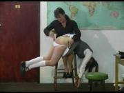 Schoolgirl in the air OTK