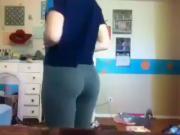 blonde in yoga pants strip