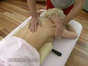 Sexy blonde full body rub