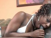 Black housewife Anastasia is blowing a dude she just met
