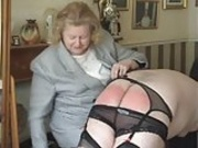 TV Naughty Nephew Spanked and Caned by Mature Domme Auntie