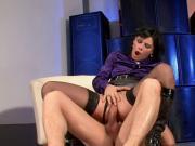 Blindfolded man fucks satin girl with black stockings