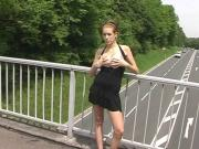 shy teen flashing tits german highway bridge