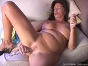 Naughty old spunker plays with her juicy pussy for you