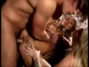 blonde tattooed MILF in threesome rimming