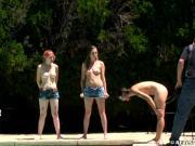 Three girl nude outdoor belt spanking