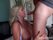 Busty Blonde Cougar Blows Cock And Swallows Jizz