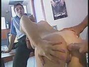 horny secretary babe fucking with 2 guys in office