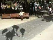 Artie on a park bench